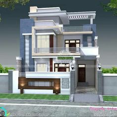 5 bedroom house plan architecture (Kerala home design) Modern Exterior House Designs, Latest House Designs, Cool House Designs, Modern House Design, Home Design, Design Ideas, 3 Storey House Design, Duplex House Design, House Design Photos