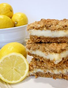 Oatmeal Lemon Creme Bars ~ these look so good!! Think I could do them with a homemade oatmeal cookie mix pretty easily...going to have to do these soon! :)