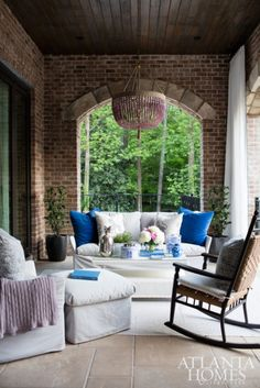 A soft, comfortable porch by GordonDunning with rich blue tones, lilac touches and a statement making chandelier. Outdoor Curtain Rods, Outdoor Curtains, Outdoor Rooms, Outdoor Living, Outdoor Furniture Sets, Outdoor Decor, Gazebo Curtains, Fresco, My Pool