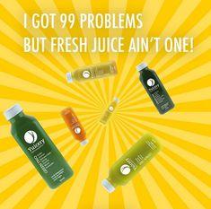 I got 99 problems but fresh juice ain't one🥤 • Und du? Bist du noch auf der Suche nach dem perfekten Saft für zwischendurch oder sogar einer Saftkur? • Wenn ja, dann hat deine Suche jetzt ein Ende! • Probiere unsere leckeren, frisch gepressten Säfte und lass dich begeistern! • Wir freuen uns von dir zu hören💚