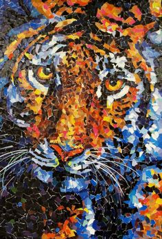 """""""Torn Paper Tiger"""" - art by flying shoes art studio;  tiger collage created with tiny pieces of torn paper from """"O"""" magazine;  24"""" x 36"""""""