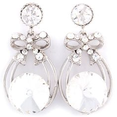 Crystal Rhinestones Bow Drop Earrings from LaTor-Gray Designz for $5.00