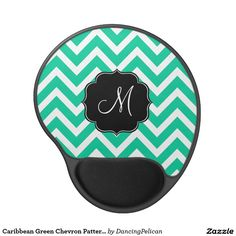 Caribbean Green Chevron Pattern with Monogram Gel Mouse Pad - his design features a colorful Caribbean green and white chevron zig-zag pattern with contrasting black monogram frame and custom monogram that you can personalize with your desired initial or other text.  Sold at DancingPelican on Zazzle.