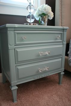 The paint color for the nightstands is Gulf Winds by Behr at Home Depot. Bedroom