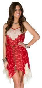 Flying Tomato Ladies Red w/ White Dots and Lace Sheer Belted Dress