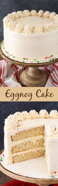 This Eggnog Layer Cake is super moist, fluffy and full of more than a cup of eggnog! Delicious and a perfect dessert for Christmas! christmas food and drinks Holiday Cakes, Holiday Baking, Christmas Desserts, Christmas Baking, Christmas Christmas, Christmas Cakes, Christmas Dinners, Homemade Christmas, Christmas Wedding