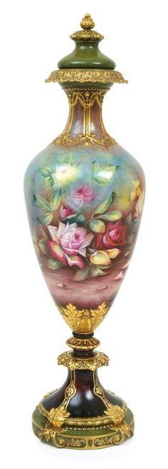 Royal Bonn porcelain floor vase and cover signed J. Muller c. 1910 Germany.