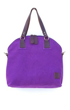 Berry colours for the summer!!! Plum canvas and natural leather handbag with detachable shoulder strap by tatyZ