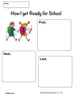 iPad Graphic Organizer - Narrative - How I Get Ready For School - Plain (Common Core Aligned iPad Pages Templates): http://oakdome.com/k5/lesson-plans/iPad-lessons/ipad-common-core-graphic-organizer-narrative-how-i-get-ready-for-school.php