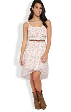 Floral Print High Low Dress with Ruffle Front and Braided Belt