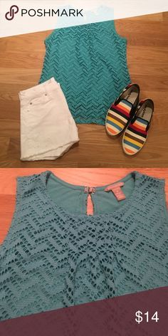 """Banana Republic turquoise perforated lace top Banana Republic turquoise perforated lace  overlay top size medium in excellent condition. Worn once. Sleeveless top with a keyhole back with a silver fastener. Shell 100% polyester and lining 100% rayon. 26.5"""" length and 18"""" chest Banana Republic Tops"""