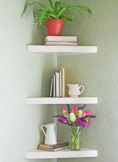 Elegant Floating DIY Shelves   Check out these DIY corner shelf plans to make your own floating corner shelves.