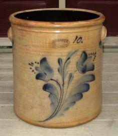 Old Ten Gallon Stoneware Crock with Flower & Leaf Decoration in Cobalt Blue . Antique Crocks, Old Crocks, Antique Stoneware, Stoneware Crocks, Antique Pottery, Primitive Antiques, Pottery Art, Glazes For Pottery, Glazed Pottery