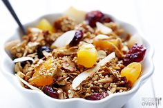 Quinoa Granola is going in the rotation! I made this today and it is great with milk or sprinkled over ice cream!  I made a few changes because of what I had on hand...