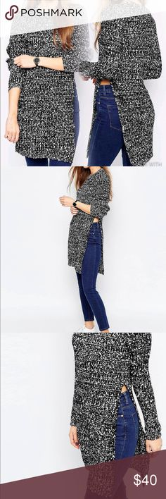Longline Tunic in Rib w/ Side Split Mono Tweed Show a bit of skin while staying cozy in this Long sleeve comfy sweater. Worn once. Perfect condition. Chunky tweed knit.  Ribbed trims Round neckline Side splits Regular fit - true to size Machine wash 76% Acrylic, 24% Nylon model wears US sz 4 ASOS Sweaters Crew & Scoop Necks