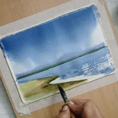 Watercolor Paintings For Beginners, Watercolor Art Lessons, Watercolor Landscape Paintings, Seascape Paintings, Watercolor Techniques, Poster Color Painting, Lake Painting, Beach Watercolor, Watercolor Pictures