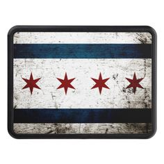 Black Grunge Chicago Flag Trailer Hitch Covers