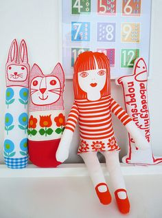 Some of my handmade screen printed toys - Jane Foster Sewing Toys, Sewing Crafts, Sewing Projects, Paper Dolls, Art Dolls, Jane Foster, Softies, Silk Screen Printing, Fabric Painting