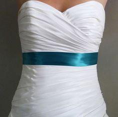 Ready to Ship Teal Wedding Sash  - 1.5 Inch Simple Satin Ribbon Wedding Sash Belt or Bridesmaids Sash on Etsy, $15.00
