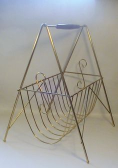 Vintage Gold Tone Metal Magazine Rack by Lifeinmommatone on Etsy Metal Magazine, Magazine Rack, Wooden Handles, Family Room, Crafting, Retro, Antiques, Gold, Vintage
