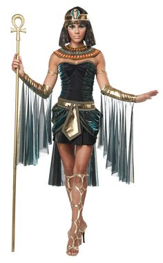 Egyptian Goddess Deluxe Cleopatra Costume - Calgary, Alberta. Our Egyptian Goddess Deluxe Cleopatra Costume is sure to be a big hit this year, thanks to Katy Perry's Dark Horse music video, which featured the star in a similar, Egyptian-themed outfit. You'll be the Queen of the Nile in our stunning and elegant Egyptian Goddess Deluxe Cleopatra Costume. Dramatic and attention-grabbing, it features a flattering, body-hugging dress with shimmering accents, a gold belt.