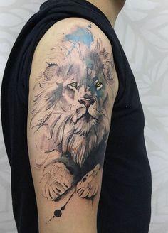 Victor Octaviano watercolor lion tattoo                                                                                                                                                                                 More