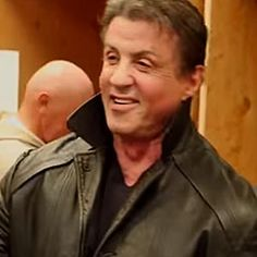 """Wearing for the first time in decades the leather jacket he wore as Rocky Balboa in the first """"Rocky"""" film in 1976."""