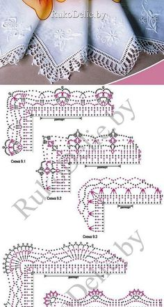 If you looking for a great border for either your crochet or knitting project, check this interesting pattern out. When you see the tutorial you will see that you will use both the knitting needle and crochet hook to work on the the wavy border. Crochet Boarders, Crochet Lace Edging, Crochet Diagram, Crochet Chart, Thread Crochet, Crochet Trim, Diy Crochet, Crochet Doilies, Crochet Flowers