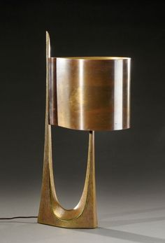 Anonymous; Gilded Bronze Table Lamp by Maison Charles, c1960.