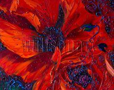 (Danke für den Besuch! Schauen Sie sich mein Geschäft für weitere Willson Lau Original Flower Ölmalerei hier: http://www.etsy.com/shop/willsonart)    Ein ONE-OF-A-KIND Original Kunstwerk in Öl auf Leinwand handgemalt & handsigniert vom Künstler, frisch direkt aus dem Studio. Absolut einzigartig.    ^ ^ Klicken Sie auf die Bilder für größere Ansicht    Titel: Bereich der Poppies    Größe: Misst 15 X 40 (d.h. 38cmX100cm)    Jahr der Arbeit: 2013    Medium: Winsor & N...