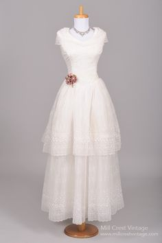 1950's Eyelet Chiffon Vintage Wedding Gown : Mill Crest Vintage