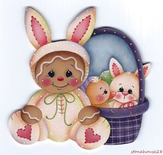 HP GINGERBREAD Bunny with Easter Basket FRIDGE MAGNET #Handpainted