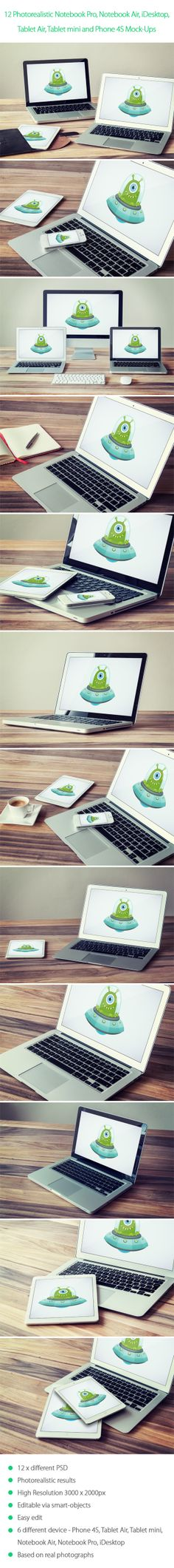 12 Photorealistic Notebook, Mobile Device Mock-Ups (GRAPHICRIVER.NET)
