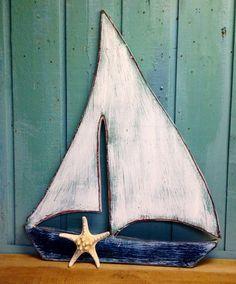 Sailboat Sailing Ship Boat Sign Wall Art Beach House Decor by CastawaysHall