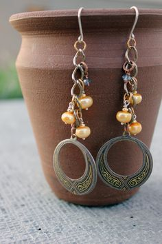 Embossed metal earrings - upcycled jewelry - bridal - wire work jewelry - chain earrings - fresh water pearl jewelry - delicate - yellow. $42.00, via Etsy.