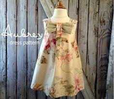 Aubrey  Bow Dress Sewing Pattern Girls Dress by RubyJeansCloset, $7.95  Size 12m-8