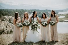 This bridal party wore beautiful mismatched neutral dresses for this summer wedding in the mountains at Invermere. Neutral Bridesmaid Dresses, Wedding Dresses, Good Dance Songs, Wedding Photos, Party Photos, Wedding Songs, Ceremony Decorations, Fun To Be One, Wedding Vendors