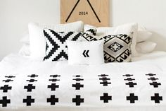 Simple Contemporary Bedroom Design with Swiss Cross Graphic Bedding Set, Black White plus Sign Duvet Cover, Black White plus Sign Duvet Cover, and Black White Boys Double Bed - Graphic Bedding White Wall Paint, Toddler Girl Bedding Sets, Black Duvet Cover, Rental Decorating, Decorating Ideas, Pillow Texture, King Comforter Sets, Contemporary Bedroom, Bed Design