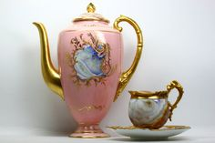 Coalport Pot, Cup & Saucer with Agate Decoration