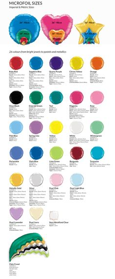 23 Best Colour Charts Images Balloon Decorations Bubble Balloons