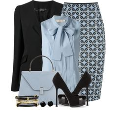 Pinko Neoprint Fenicottero Pencil Skirt A fashion look from May 2014 featuring blue shirt, Fendi and pencil skirts. Browse and shop related looks. Business Outfits, Business Attire, Office Outfits, Mode Outfits, Business Fashion, Business Lady, Business Formal, Classy Outfits, Chic Outfits