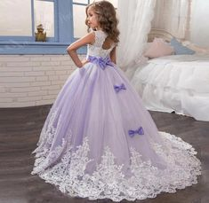 Lace Flower Girl Dress With Bow. Pageant GownsGirls Pageant DressesLong ... 4e859892d