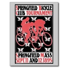 Vintage belle époque William Bradley American bicycle club Springfield MA Postcards and posters