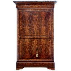19th Century French Flame Mahogany Secretaire