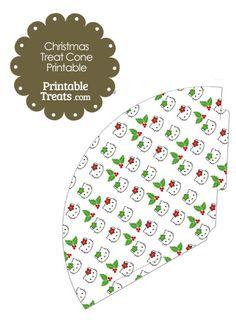 Hello Kitty Christmas Holly Printable Treat Cone from PrintableTreats.com