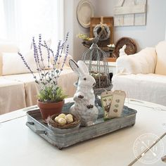 Easter Decorations 232357662009100966 - Farmhouse Tablescape Ideas for Spring Source by Coffee Table Centerpieces, Decorating Coffee Tables, Centerpiece Ideas, Easter Centerpiece, Coffee Table Tray Decor, Kitchen Island Centerpiece, Kitchen Island Decor, Centerpiece Wedding, Kitchen Ideas