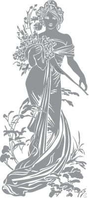 Glass etching stencil of Woman with flowing dress and flowers. In category: Centers, Characters, Flowers