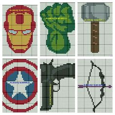 Avengers cross stitch patterns.                                                                                                                                                                                 More