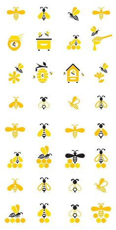 Bee and honey icon set. - # - Bee and honey icon set. Icon Set, Honey Logo, Honey Label, I Love Bees, Bee Crafts, Etsy Crafts, Bee Party, Save The Bees, Bees Knees