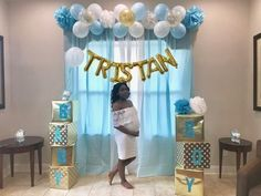 Elephant Baby Shower Backdrop With Balloons.Elephant Themed Baby Shower Pretty My Party Party Ideas. Baby Boy Shower Balloon Ideas By The Meads Baby Shower . Décoration Baby Shower, Fiesta Baby Shower, Baby Shower Backdrop, Shower Bebe, Baby Shower Photos, Girl Shower, Shower Party, Baby Shower Parties, Boy Baby Showers